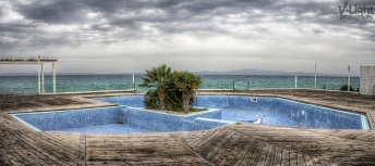 An abandoned pool after the end of the summer season in Greece   2012